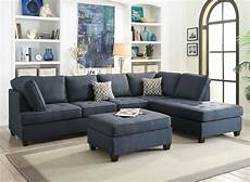 Blue Sectional Sofa 3d Image by Blue Sectional Sofa Chaise Poundex F6989 Sectionals