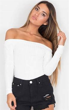 white tops for sleeve feetures white shoulder ribbed sleeve top by showpo ustrendy