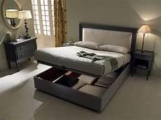 bed with storage box padded headboard idfdesign