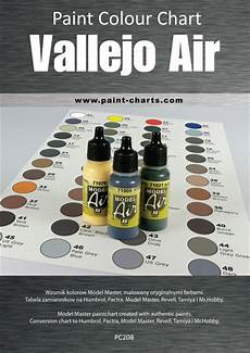 Revell Paint Chart Paint Colour Chart Vallejo Air 20mm Pjb Pc208