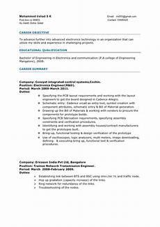 Electronics Engineer Resume Samples Resume Electronics Engineer 3years Experience