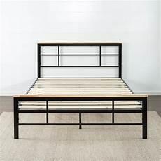 zinus metal and wood black platform bed frame
