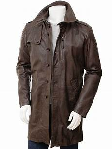 mens coats mens brown leather trench coat battledown caine