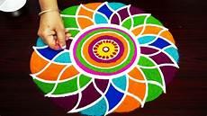 Color Kolam Designs With Dots Very Simple Freehand Rangoli Designs Colour Kolam