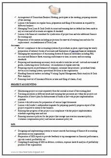 Resume Format For Experienced Accountant Pdf Over 10000 Cv And Resume Samples With Free Download
