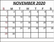 November 2020 Calendar Printable Free Free November 2020 Printable Calendar Template In Pdf