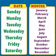 Printable Days Of The Week Chart Days Of The Week Amp Months Of The Year Student Reference