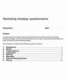 Marketing Plan Questionnaire Marketing Strategy