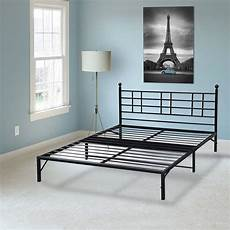 easy setup bifold metal bed frame w built in headboard