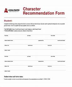 Letter Of Recommendation Forms Free 6 Sample Character Reference Letters In Pdf Ms Word