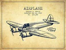 Airplanes Drawings Airplane Patent Drawing From 1943 Vintage Digital Art By