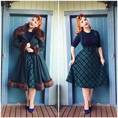 tenue vintage 20 winter vintage 50s swing midi brace skirt in