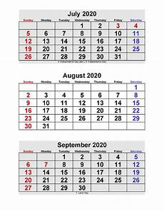 3 Month Calendar 2020 July August September 2020 Calendar 3 Months Per Page