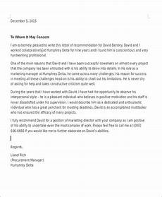 Coworker Letter Of Recommendation Free 7 Coworker Recommendation Letter Samples In Ms Word