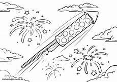 malvorlage silvester rakete feiertage kostenlose
