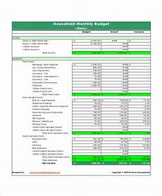Household Expense Spreadsheet Template Free Excel Monthly Budget Template