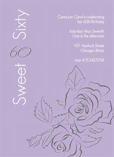 Invitation Outlines 60th Birthday Invitations Sweet Rose Outline 60th