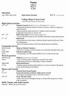 Student Resume For College Application College Application Resume Outline High School Resume