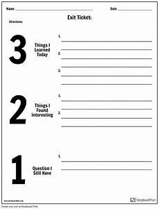 Ticket Out The Door Printable Exit Ticket 3 2 1 Storyboard By Worksheet Templates
