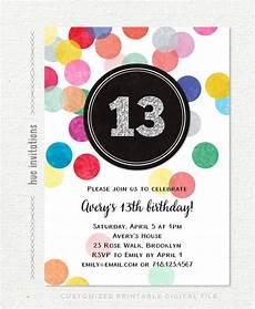Second Birthday Party Invitations 13th Birthday Invitations For Girls Rainbow Confetti Silver
