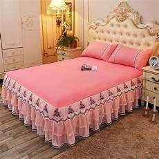 1 3pcs 100 cotton lace king size bed skirt