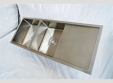 1110mm Double Bowl Handmade Stainless Steel Sink with Side Drainer   Topmount or Undermount