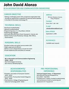 How To Change Resume Format Sample Resume Format For Fresh Graduates One Page Format