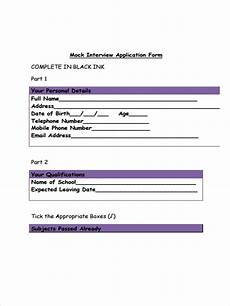 Mock Application Form Free 37 Interview Forms In Pdf Ms Word Excel