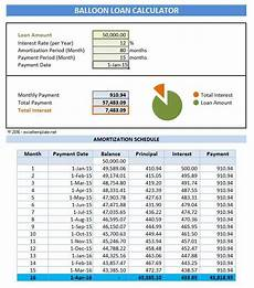 Amortization Schedule With Balloon Payment Loan Amortization Schedule With Balloon Payment Excel