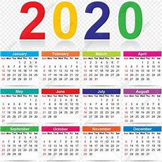 Year Month Calendar Colorful 2020 New Year Calendar Colorful Colorful