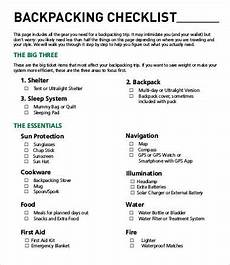 Pack This Checklist Printable Backpacking Checklist Template 10 Free Word Pdf