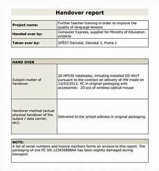 Handover Form Handover Report Template 20 Free Word Pdf Documents