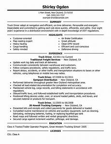 Resume Objective For Truck Driver Truck Driver Resume Ipasphoto