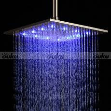 Shower Head With Lights 12 Quot Led Light Square Rain Shower Head Stainless Steel