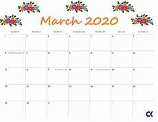 March 2020 Printable Calendar With Holidays Printable March 2020 Calendar 5 Free Templates