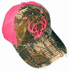 team realtree s camo cap pink deer horns and back