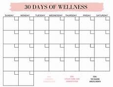 30 Day Calendar 30 Days Of Wellness Blank Calendar Gleisberg