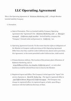 Example Llc Operating Agreement Free Llc Operating Agreement Free To Print Save Amp Download