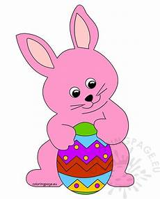 pink easter bunny holding a big easter egg coloring page