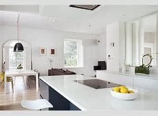 Contemporary German style Dublin Kitchen, painted in Farrow and Ball White and railings