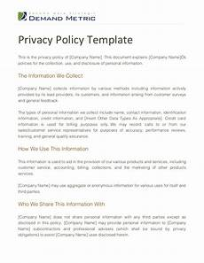 Privacy Policy Sample Privacy Policy Template