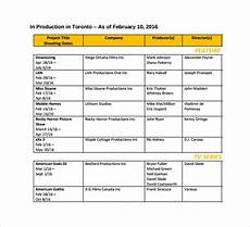 Shooting Schedule Sample 11 Film Shooting Schedule Templates Pdf Doc Free