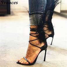 Designer Shoes With Feathers Aliexpress Com Buy Designer Black Feather High Heels