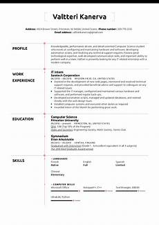 Student Internship Cv Template It Intern Resume Template Kickresume
