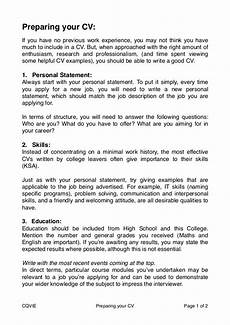 Writing A Personal Statement For A Cv How To Prepare A Cv