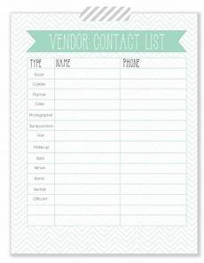Wedding Vendor Checklist Template Vendor Contact List Free Printable Wedding Planner
