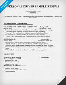 Resume Sample For Driver Personal Driver Resume Sample Resumecompanion Com