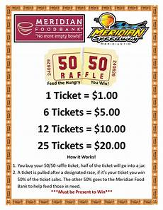 Raffle Ticket Signs Speedway 50 50 Meridian Food Bank