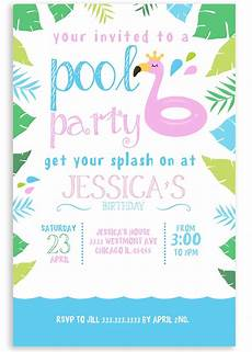 Party Invation Pool Party Invitation Pink Flaming Invitation