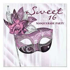 Masquerade Invitations For Sweet 16 Pink And Purple Sweet 16 Masquerade Party Invitation